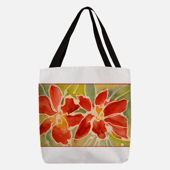 Red orchids! Beautiful art! Polyester Tote Bag