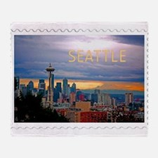 Seattle Skyline at Sunset Stamp TEXT Throw Blanket