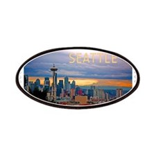 Seattle Skyline at Sunset Stamp TEXT SEATTLE Patch