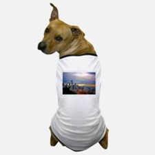 Seattle Skyline at Sunset Stamp TEXT S Dog T-Shirt
