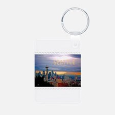 Seattle Skyline at Sunset Stamp Keychains