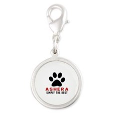 Ashera The Best Cat Designs Silver Round Charm