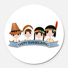 Happy Thanksgivng Round Car Magnet
