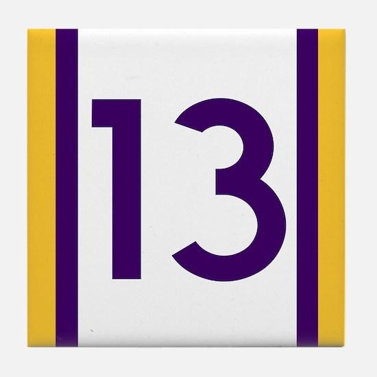 thirteen purple and gold Tile Coaster