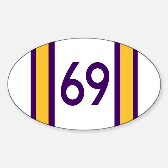 sixty nine purple and gold number Decal