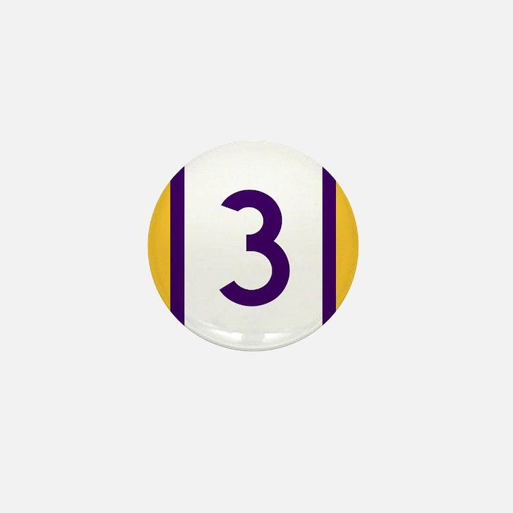 three purple and gold Mini Button
