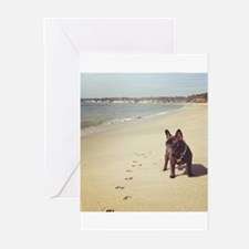 French Bulldog on the Beach Greeting Cards