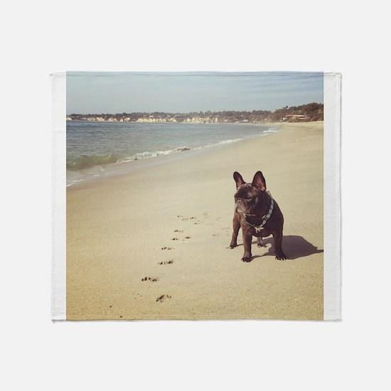 French Bulldog on the Beach Throw Blanket