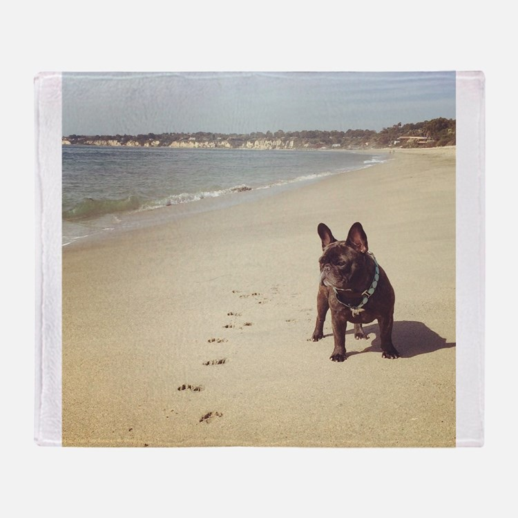 French Bulldog on the Beach Throw Blanket