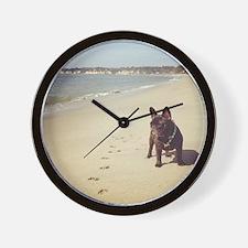 French Bulldog on the Beach Wall Clock