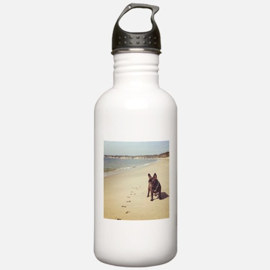 French Bulldog on the Beach Water Bottle