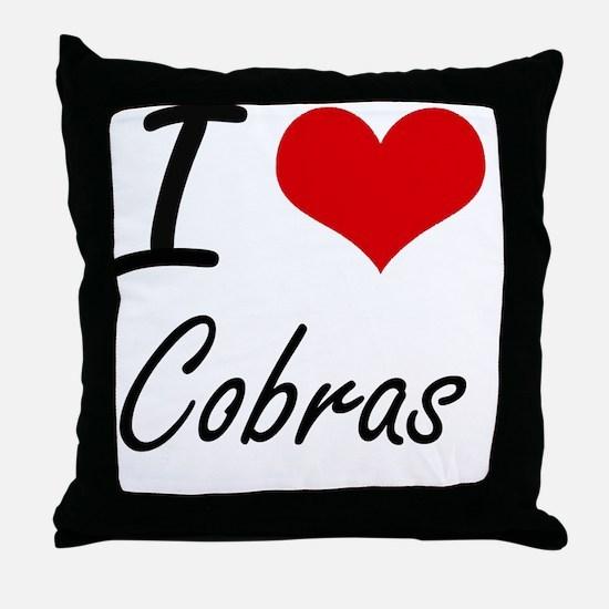 I love Cobras Artistic Design Throw Pillow