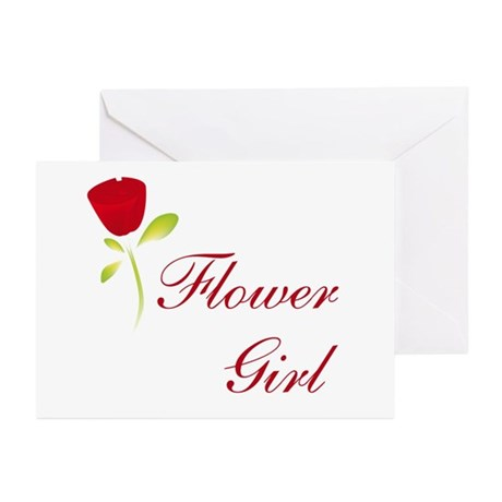 Red Flower Girl Greeting Cards (Pk of 10)