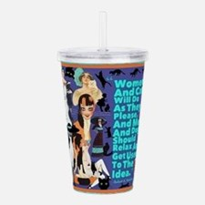 Women And Cats Acrylic Double-Wall Tumbler