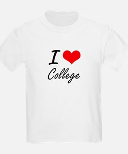 I Love College Artistic Design T-Shirt