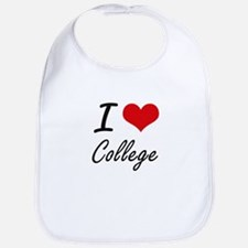 I Love College Artistic Design Bib