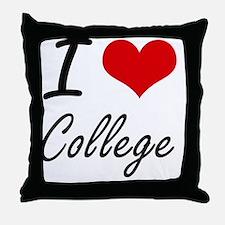 I Love College Artistic Design Throw Pillow