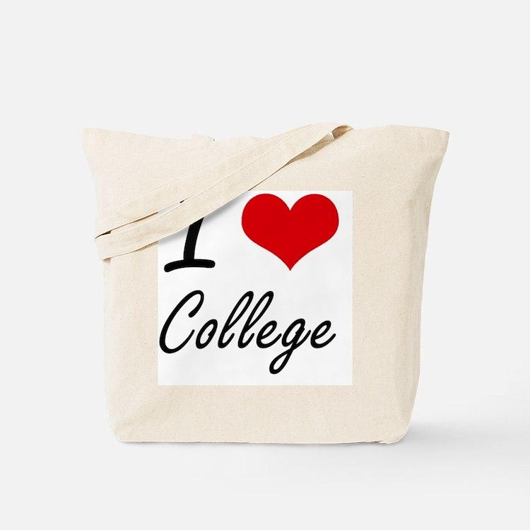 I Love College Artistic Design Tote Bag