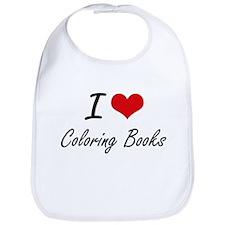 I love Coloring Books Artistic Design Bib