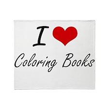 I love Coloring Books Artistic Desig Throw Blanket