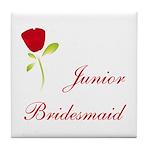 Red Junior Bridesmaid Tile Coaster