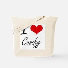 I love Comfy Artistic Design Tote Bag