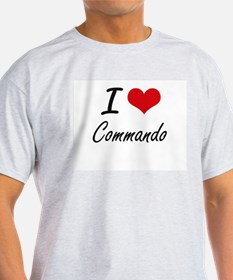 I love Commando Artistic Design T-Shirt