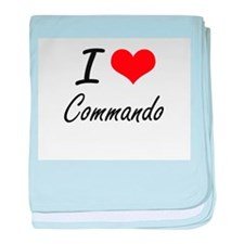 I love Commando Artistic Design baby blanket