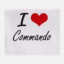 I love Commando Artistic Design Throw Blanket