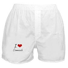 I love Commando Artistic Design Boxer Shorts