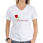 Red Bridesmaid Women's V-Neck T-Shirt