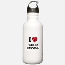 I Love Wood Carving Water Bottle