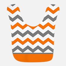 Orange Gray Chevron Stripe Bib