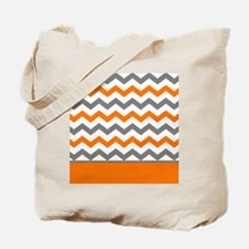 Orange Gray Chevron Stripe Tote Bag
