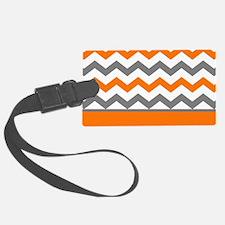 Orange Gray Chevron Stripe Luggage Tag