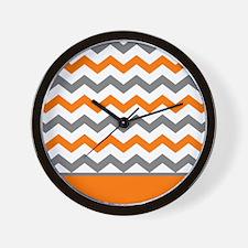 Orange Gray Chevron Stripe Wall Clock