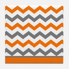 Orange Gray Chevron Stripe Tile Coaster
