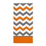 Orange gray chevron stripe Beach Towels