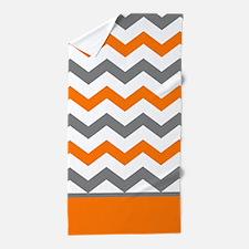 Orange Gray Chevron Stripe Beach Towel