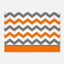 Orange Gray Chevron Stripe 5'x7'Area Rug