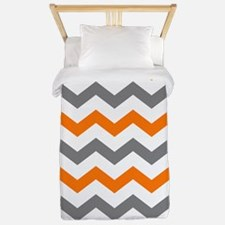 Orange Gray Chevron Stripe Twin Duvet