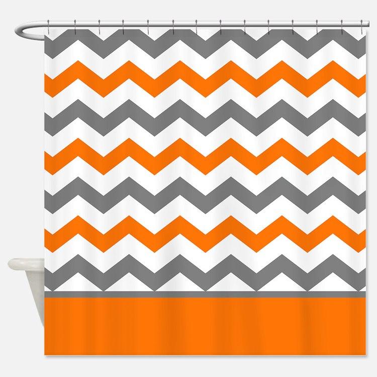 Orange And Gray Shower Curtain Modern White Gray And Orange - Gray and orange shower curtain