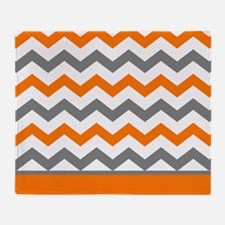 Orange Gray Chevron Stripe Throw Blanket