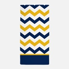 Blue and Yellow Chevron Stripe Beach Towel