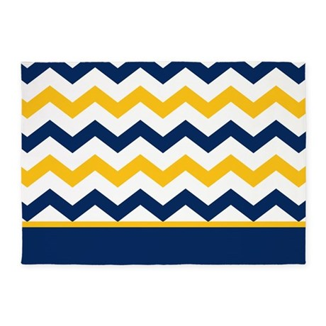blue and yellow chevron stripe rug
