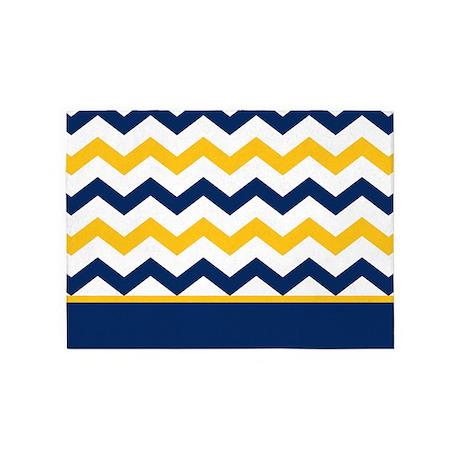 Blue And Yellow Chevron Stripe 5u0027x7u0027Area Rug