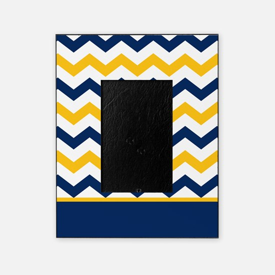 Blue and Yellow Chevron Stripe Picture Frame