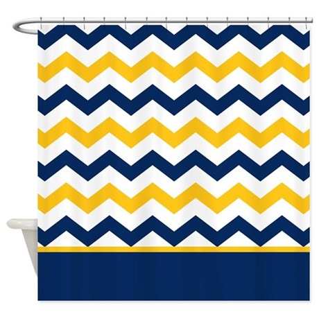 Blue And Yellow Chevron Stripe Shower Curtain By