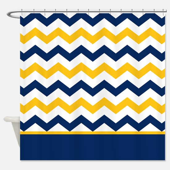 Blue and Yellow Chevron Stripe Shower Curtain