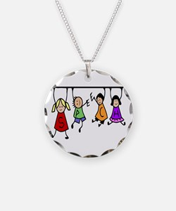 Cute Kids Cartoon Holding Necklace